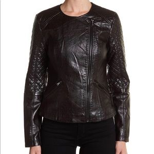 GUESS Faux Leather Snake Print Moto Jacket